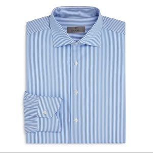 Canali Striped Regular Fit Dress Shirt in Blue